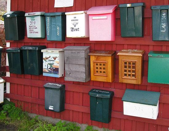 "I found these letterboxes (mailboxes)on the little island on the Swedish west coast called ""Lilla..."