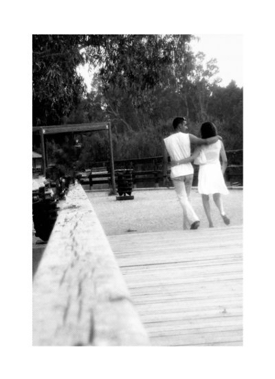 walk couple park love man woman bw