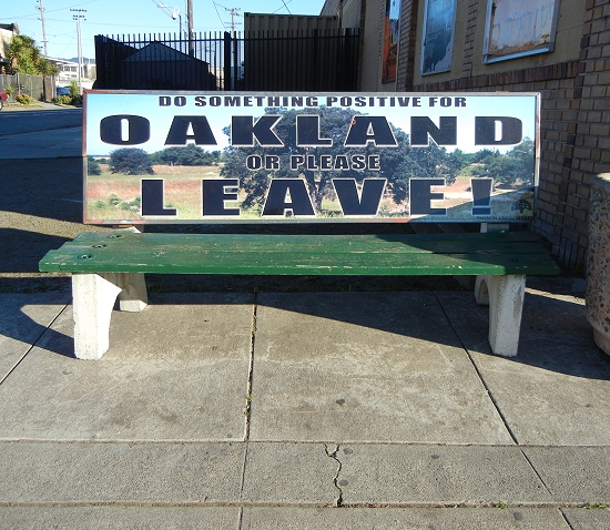 oakland busstop bench ad