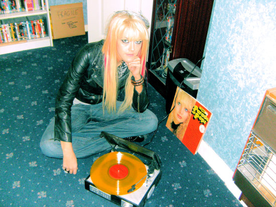 sasparella girl model portrait vinyl recordplayer blonde