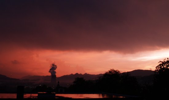 view sunset powerplant nuclear clouds storm