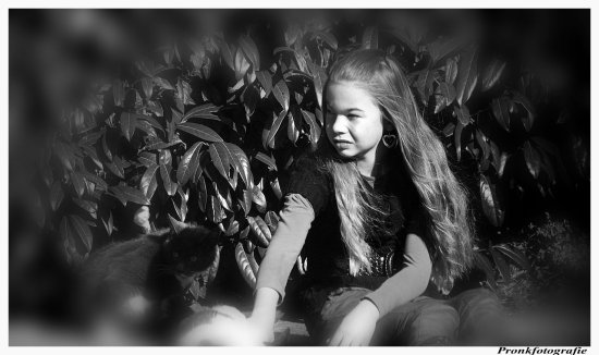 girl bw cats