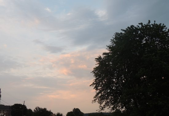 clouds storm sunset tree green blue