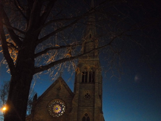 church unlit gothic at night ct waterbury