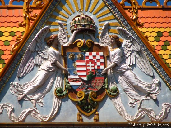 hungarian saint crown and coat of arms (Pecs town)