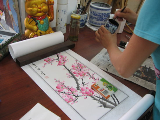 art painting beijing china shop lady ink calligraphy