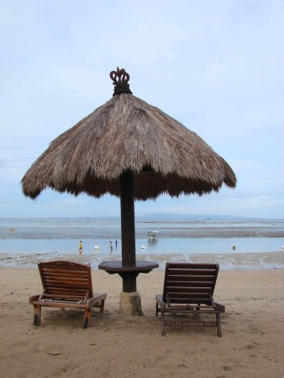 table chair umbrella peace calm view beach benoa bali indonesia