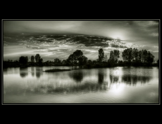 HDR nature lake water sunset Hungary landscape bw