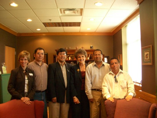Team Peru and the President of  the University of North Texas, USA