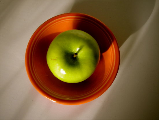 green apple Fiestaware persimmon orange food kitchen organic fruit bowl
