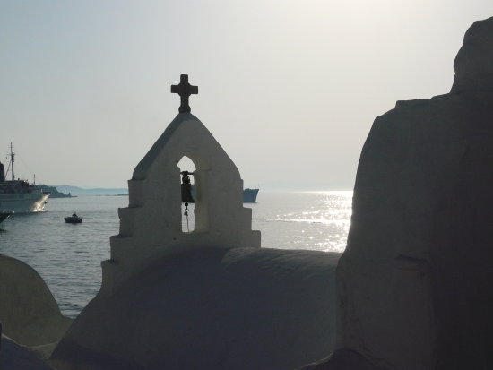 greece ocean sun view church white blue