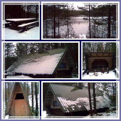 Collage wilderness hut
