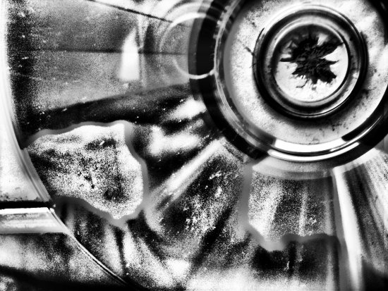 selfportrait abstract bw inside cd reflection