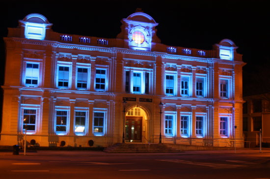 The Oamaru Opera house is lit in Blue tonight to celebrate the arrival of Kate and Williams new b...
