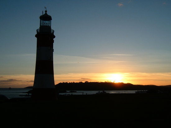 sunset lighthouse Plymouth