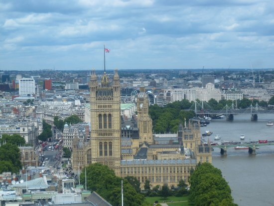 Looking down on the Palace of Westminster
