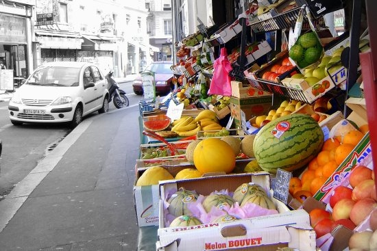 Paris street colour fruit with black and white background
