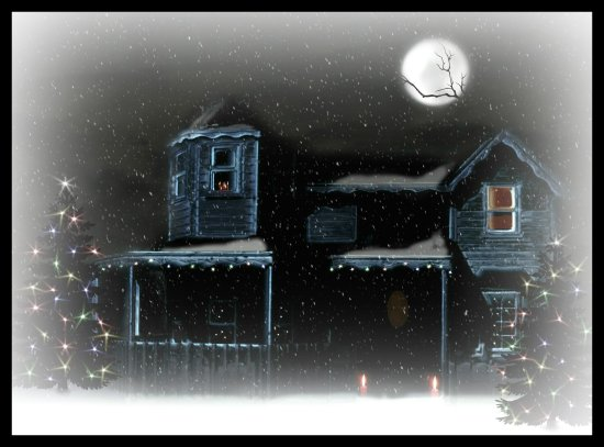 christmas house snow digitalartclub