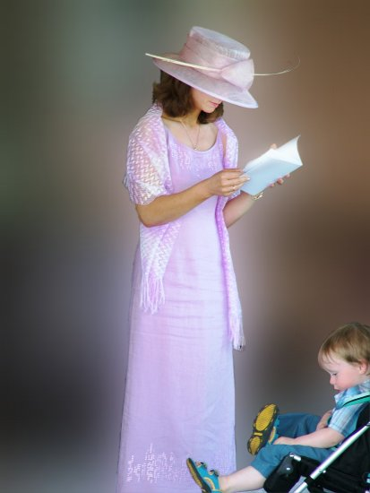 lady women reading kid boy dress