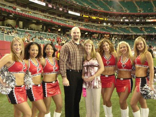 Falcons the with Liz and Bobby Cheerleaders