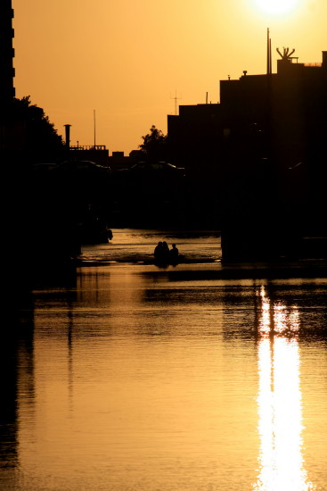groningren canal sunset