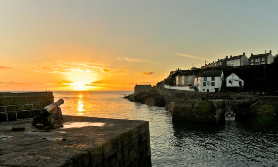 December sunset Porthleven Cornwall UK 7.12.2012