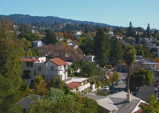 View from above the Rose Garden over Jean Street, Oakland. Redwood Peak at left, that hill above ...