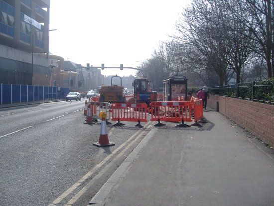 bus stop roadworks