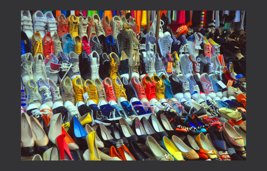 shoes on night market street