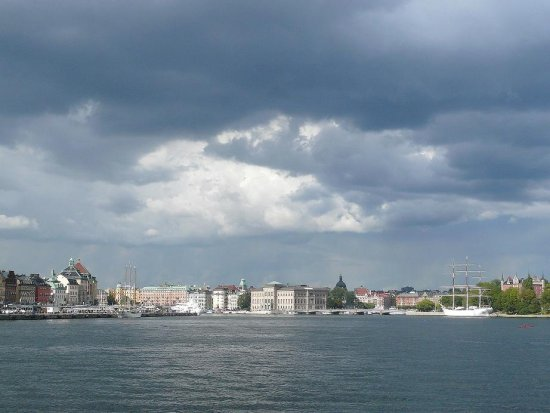 dramatic weather city harbour Stockholm