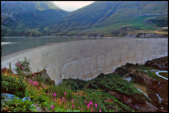 Switzerland dam water energy electricity view travel trip concrete high