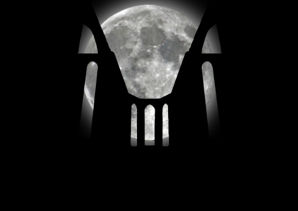monastery black white moon photomontage ruins