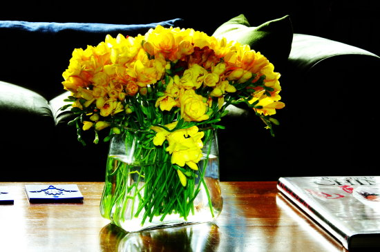 spring flowers yellow vase