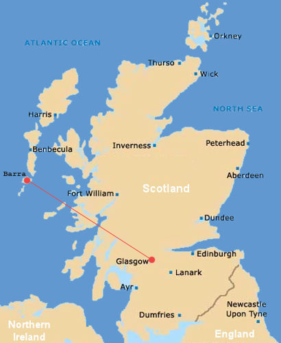 Scotland Map barra island airport airplanes