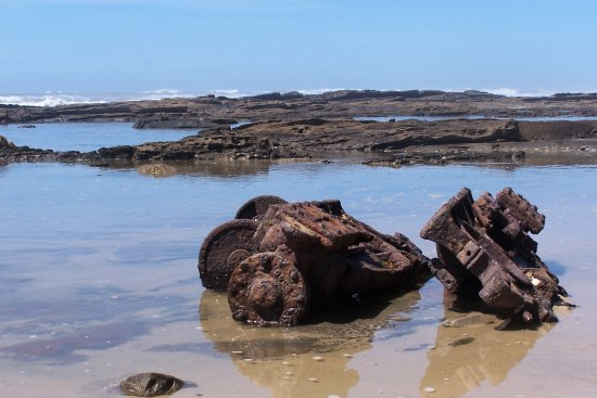 Boat engine left at shores edge after shipwreck.
