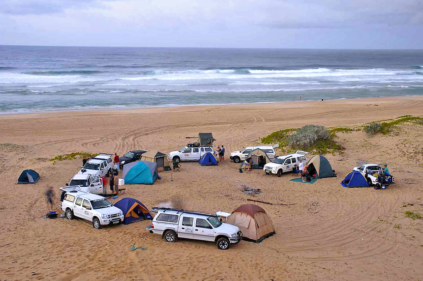 camping on the beach near bilene in mozambique on a 4x4 excursion up