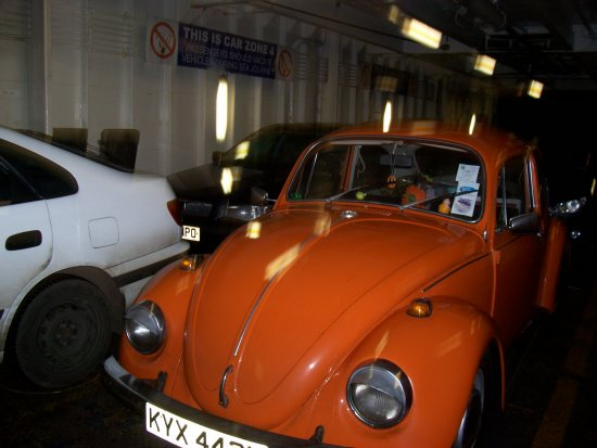 vw vwbug vwbeetle bug beetle orange ferry