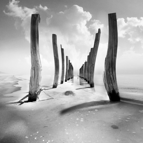 artistic land scape view sea black white classic path nature keitology