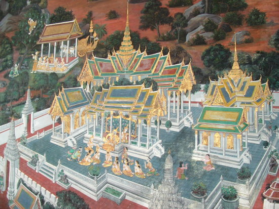 Wall paintings Wat Phrakaew 2 Bangkok Thailand