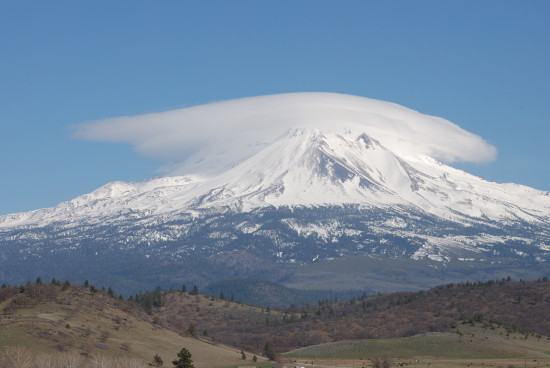 California mountains clouds shasta lenticular