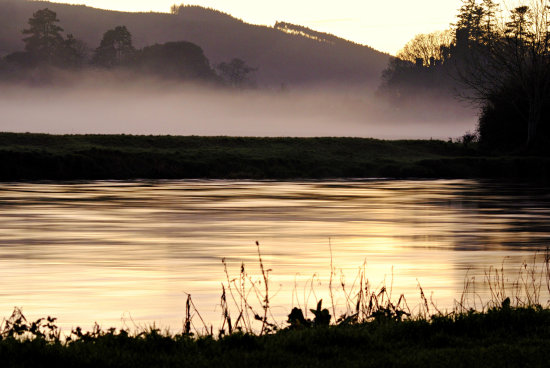 evening light river fog