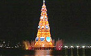 christmas simbol installed in the middle of a great lake with 82 mts.height located in rio de ja...