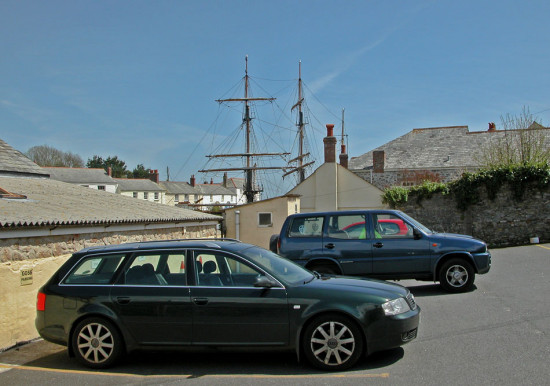 Cornwall Car Park Charlestown Mast Ship UK