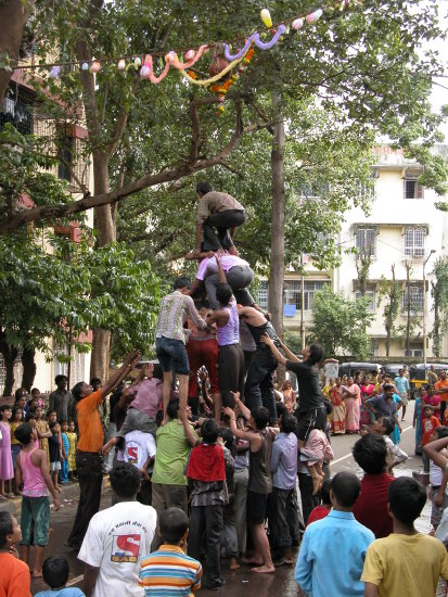 Human Pyramid during Gokulashtami