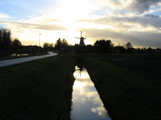 windmill mill sunset reflection