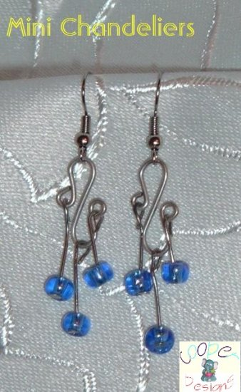 earrings chandeliers blue mini