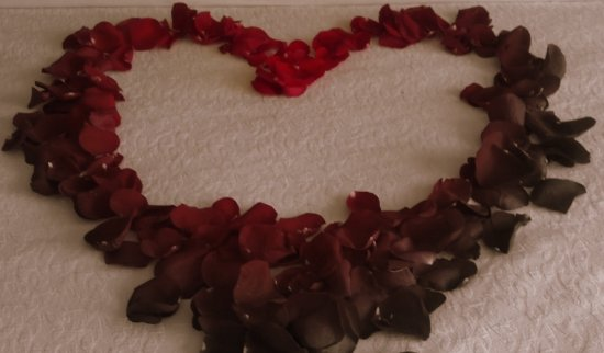 I made the heart using rose petals. Sharpened with focal black and white