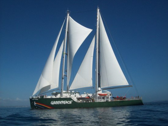 The Rainbow Warrior coming Sailing into town.  The last time I saw the original Rainbow Warrior w...