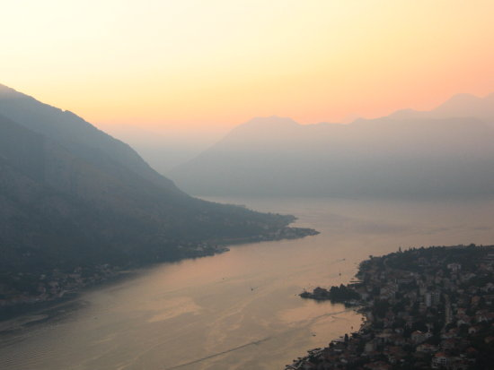 kotor bay sunset mountains sea fog montenegro