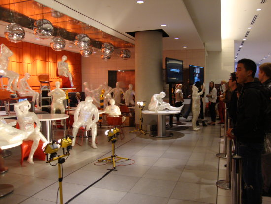 At 10:17pm.At Toronto Eaton Centre-Urban Eatery-Scotiabank Nuit Blanche-Human Art Displays-On Sat...